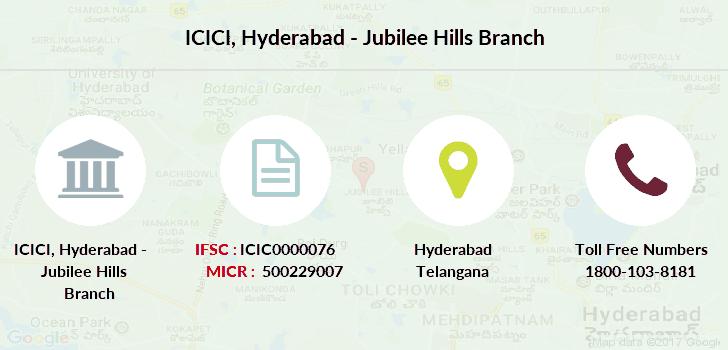 icici bank ifsc code hyderabad jubilee hills