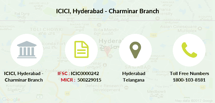 ICICI Hyderabad Charminar IFSC Code ICIC0000242 on