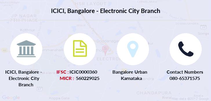 icici bank ifsc code bangalore electronic city branch