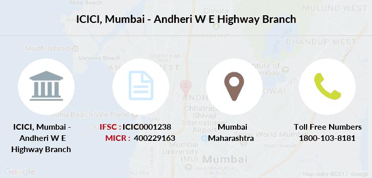 ifsc code icici bank mumbai-andheri w e highway