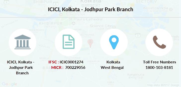 ICICI Kolkata - Jodhpur Park IFSC Code ICIC0001274