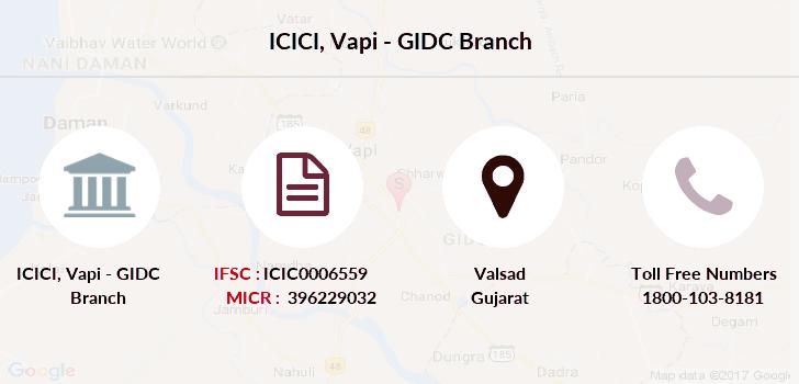 ifsc code of icici bank gidc vapi