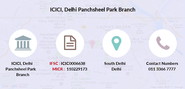 ifsc code of icici bank green park branch new delhi