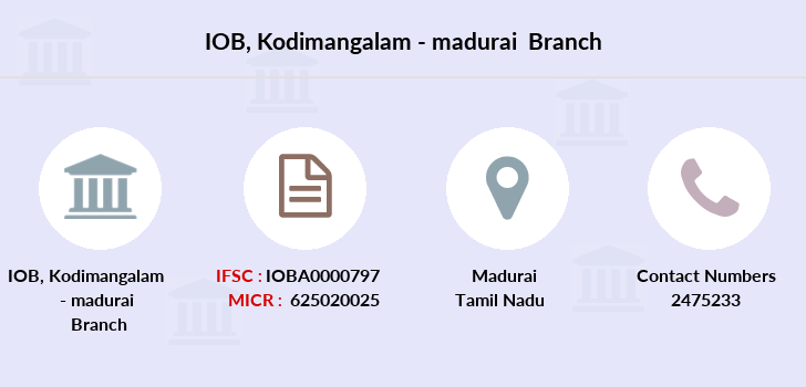 Indian-overseas-bank Kodimangalam-madurai branch