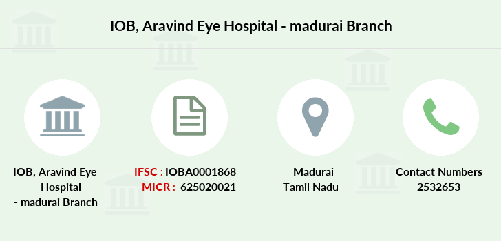 Indian-overseas-bank Aravind-eye-hospital-madurai branch