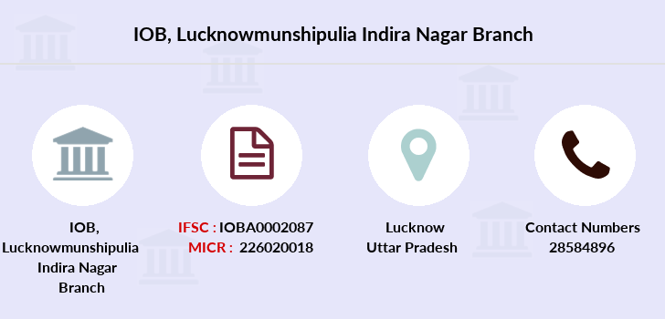 Indian-overseas-bank Lucknowmunshipulia-indira-nagar branch