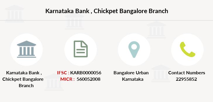 Karnataka Bank Chickpet Bangalore IFSC Code KARB0000056