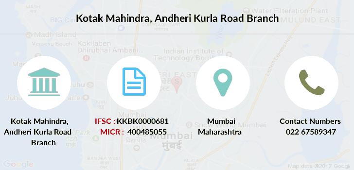ifsc code kotak mahindra bank andheri kurla road branch