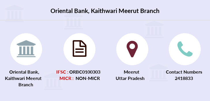Oriental-bank-of-commerce Kaithwari-meerut branch
