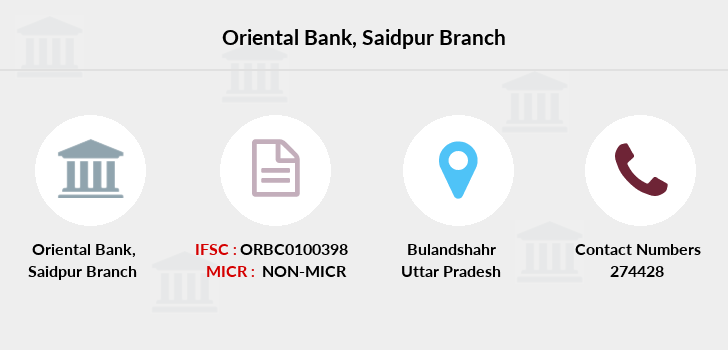 Oriental-bank-of-commerce Saidpur branch
