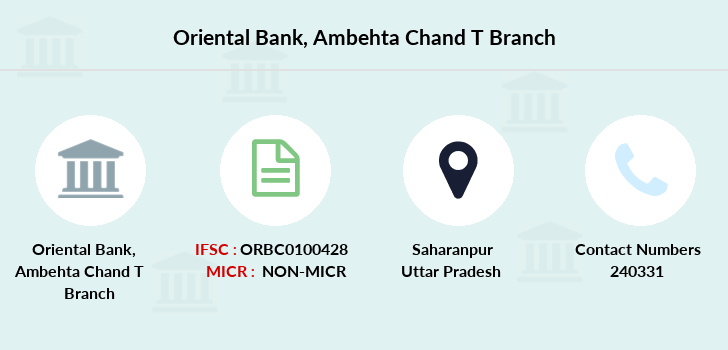 Oriental-bank-of-commerce Ambehta-chand-saharanpur branch
