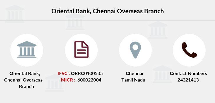 Oriental-bank-of-commerce Chennai-overseas branch