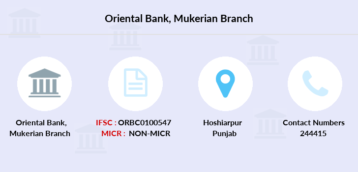 Oriental-bank-of-commerce Mukerian branch