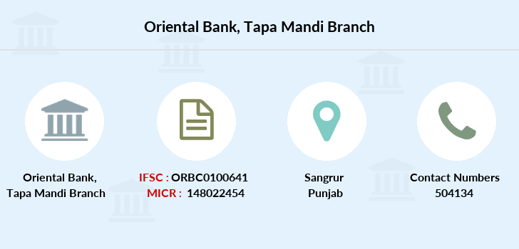 Oriental-bank-of-commerce Tapa-mandi branch