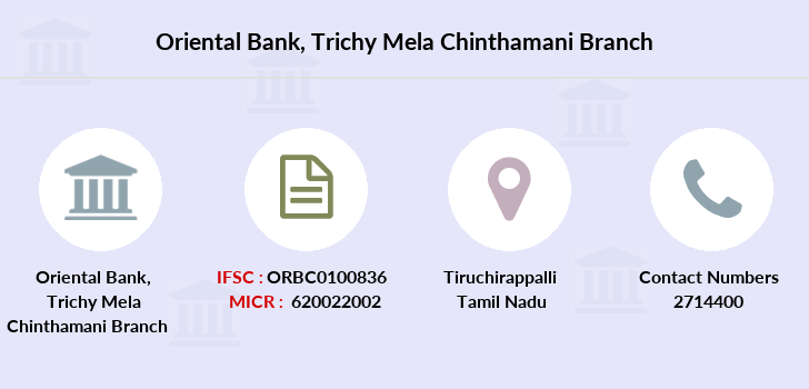 Oriental-bank-of-commerce Trichy-mela-chinthamani branch
