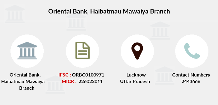 Oriental-bank-of-commerce Haibatmau-mawaiya branch