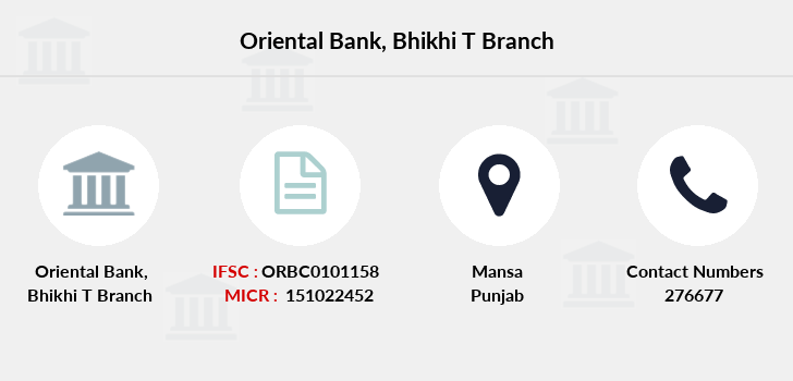 Oriental-bank-of-commerce Bhikhi-t branch