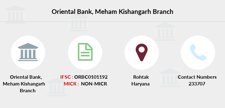 Oriental-bank-of-commerce Meham-kishangarh-rohtak branch