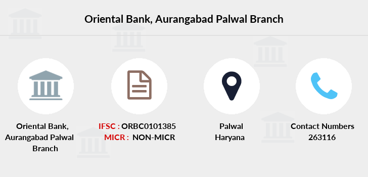 Oriental-bank-of-commerce Aurangabad-palwal branch