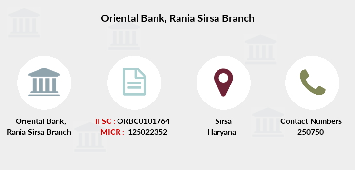 Oriental-bank-of-commerce Rania-sirsa branch