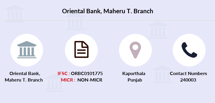 Oriental-bank-of-commerce Maheru-district-kapurthala branch