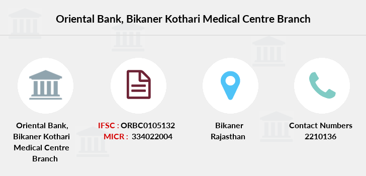Oriental-bank-of-commerce Bikaner-kothari-medical-centre branch