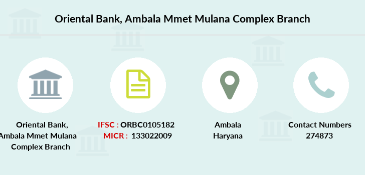 Oriental-bank-of-commerce Ambala-mmet-mulana-complex branch