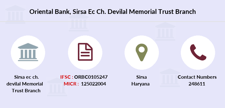 Oriental-bank-of-commerce Sirsa-ec-ch-devilal-memorial-trust branch