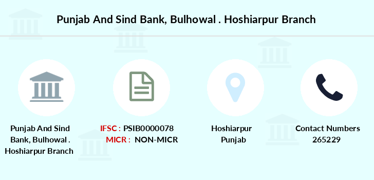 Punjab-and-sind-bank Bulhowal-hoshiarpur branch