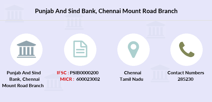 Punjab-and-sind-bank Chennai-mount-road branch