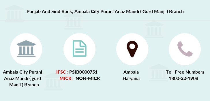 Punjab-and-sind-bank Ambala-city-purani-anaz-mandi-gurd-manji branch