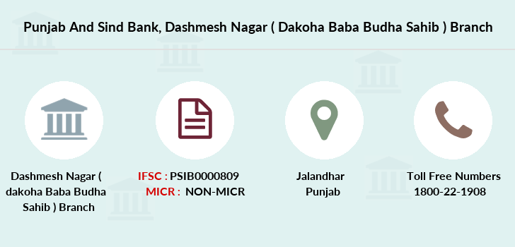Punjab-and-sind-bank Dashmesh-nagar-dakoha-baba-budha-sahib branch
