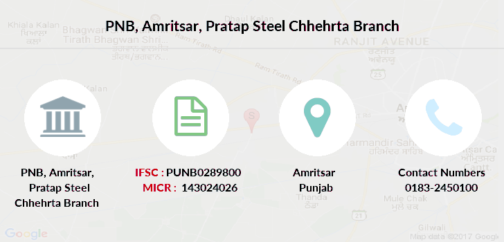Punjab-national-bank Amritsar-pratap-steel-chhehrta branch