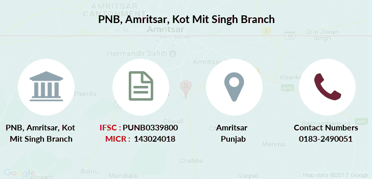 Punjab-national-bank Amritsar-kot-mit-singh branch