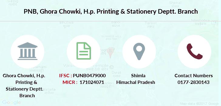 PNB Ghora Chowki, H p  Printing & Stationery Deptt  IFSC Code