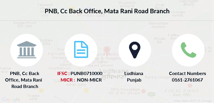 Punjab-national-bank Cc-back-office-mata-rani-road branch