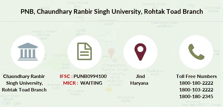 Punjab-national-bank Chaundhary-ranbir-singh-university-rohtak-toad branch