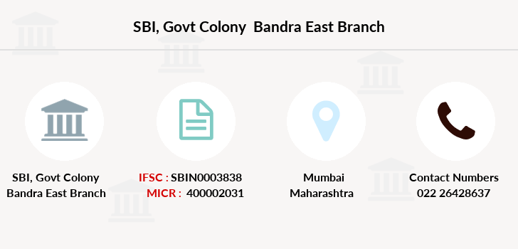 state bank of india govt colony bandra east branch address