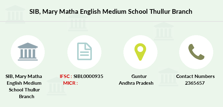 SIB Mary Matha English Medium School Thullur IFSC Code SIBL0000935