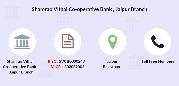 Shamrao Vithal Co operative Bank Jaipur IFSC Code SVCB0000249