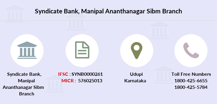 Syndicate-bank Manipal-ananthanagar-sibm branch