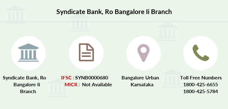 Syndicate-bank Ro-bangalore-ii branch