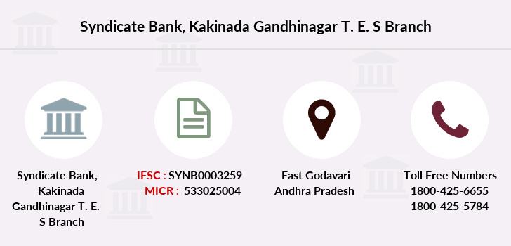 Syndicate-bank Kakinada-gandhinagar-t-e-s branch