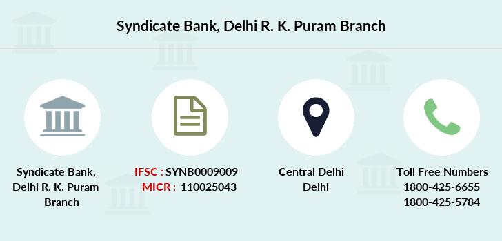 Syndicate Bank Delhi R K Puram Ifsc Code Synb0009009