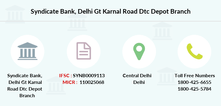 Syndicate-bank Delhi-gt-karnal-road-dtc-depot branch