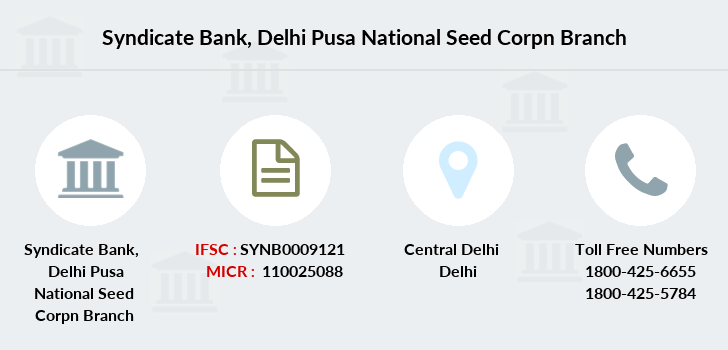 Syndicate-bank Delhi-pusa-national-seed-corpn branch