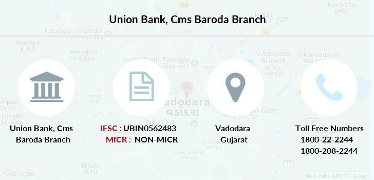 Baroda India Map.Union Bank Cms Baroda Ifsc Code Ubin0562483