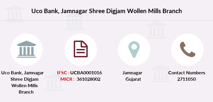 Uco-bank Jamnagar-shree-digjam-wollen-mills branch
