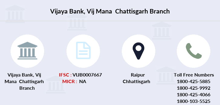 Vijaya-bank Vij-mana-chattisgarh branch