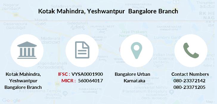ifsc code kotak mahindra bank bangalore binnamangala branch